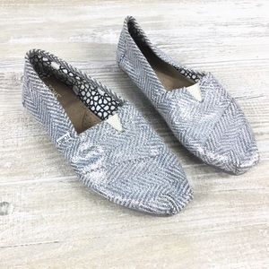 Toms Metallic Silver Slip On Loafer Shoes